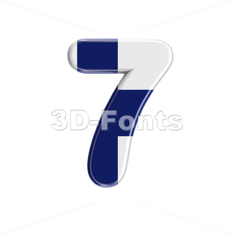 Flag of Finland digit 7 -  3d number - 3D Fonts Collections | Top Quality Letters, Numbers and Symbols !