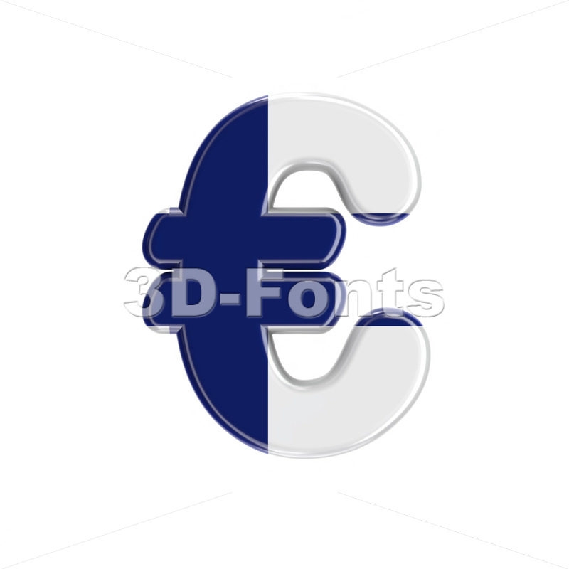 Flag of Finland euro currency sign - 3d Business symbol - 3D Fonts Collections | Top Quality Letters, Numbers and Symbols !