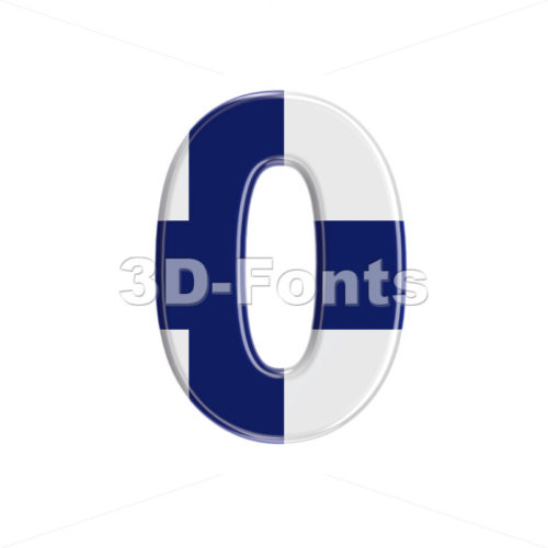 Flag of Finland number 0 -  3d digit - 3D Fonts Collections | Top Quality Letters, Numbers and Symbols !