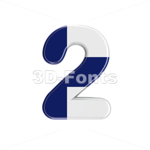 Flag of Finland number 2 -  3d digit - 3D Fonts Collections | Top Quality Letters, Numbers and Symbols !