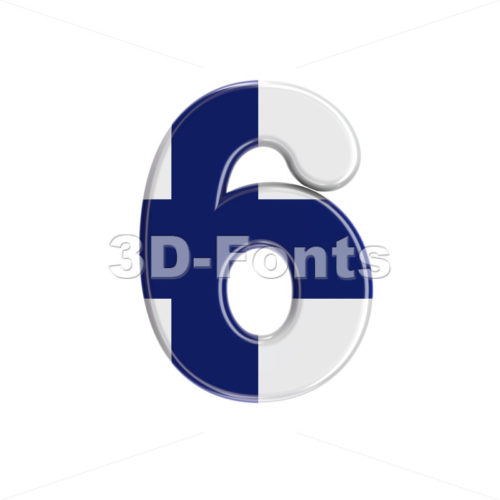 Flag of Finland number 6 -  3d digit - 3D Fonts Collections | Top Quality Letters, Numbers and Symbols !