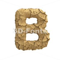 Capital dry ground letter B - Uppercase 3d font - 3D Fonts Collections | Top Quality Letters, Numbers and Symbols !