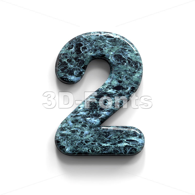 Marble number 2 -  3d digit - 3D Fonts Collections | Top Quality Letters, Numbers and Symbols !