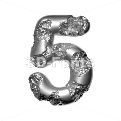 Melted steel digit 5 -  3d number - 3D Fonts Collections | Top Quality Letters, Numbers and Symbols !
