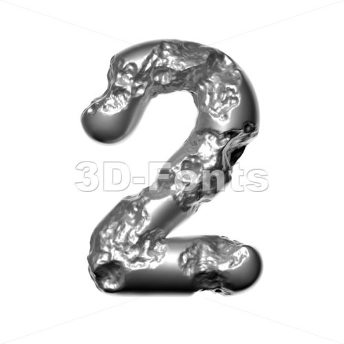 Melted steel number 2 –  3d digit – 3D Fonts Collections | Top Quality Letters, Numbers and Symbols !
