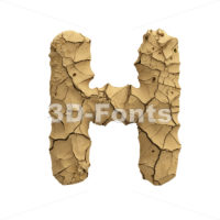 Soil clay 3d letter H - Upper-case 3d character - 3D Fonts Collections | Top Quality Letters, Numbers and Symbols !