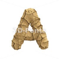 Soil clay letter A - Capital 3d character - 3D Fonts Collections | Top Quality Letters, Numbers and Symbols !