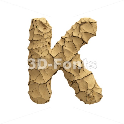 Uppercase Soil clay letter K - Capital 3d font - 3D Fonts Collections | Top Quality Letters, Numbers and Symbols !