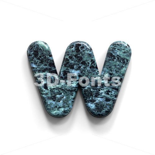 blue stone alphabet letter W - Lower-case 3d character - 3D Fonts Collections | Top Quality Letters, Numbers and Symbols !