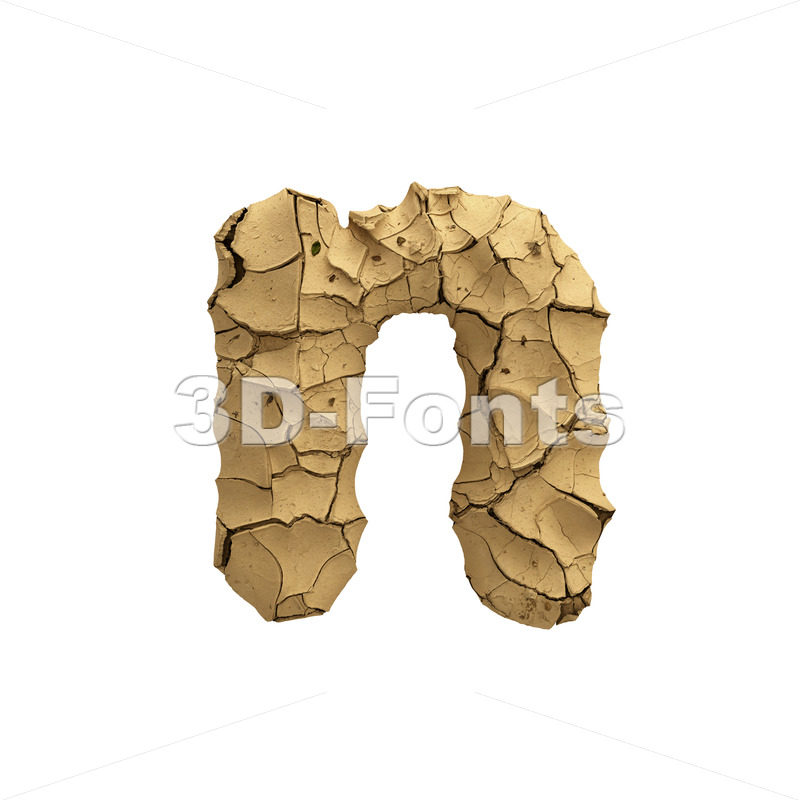 Lower-case Soil clay letter N - Small 3d font - 3D Fonts Collections | Top Quality Letters, Numbers and Symbols !