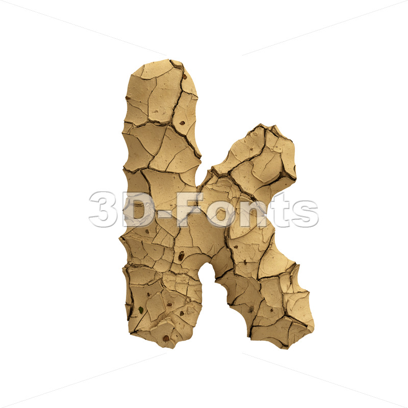 Lower-case dry ground character K - Small 3d letter - 3D Fonts Collections | Top Quality Letters, Numbers and Symbols !