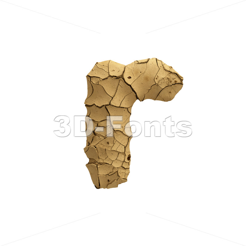 Small Soil clay character R - Lower-case 3d letter - 3D Fonts Collections | Top Quality Letters, Numbers and Symbols !