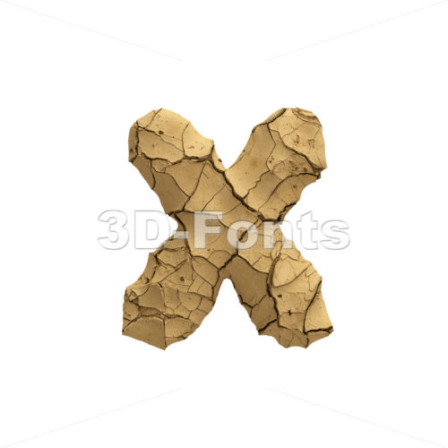Soil clay 3d font X - Small 3d letter - 3D Fonts Collections | Top Quality Letters, Numbers and Symbols !