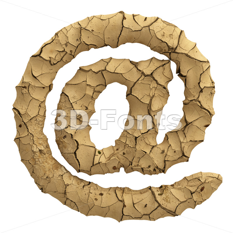 Soil clay at sign - 3d Arobase symbol - 3D Fonts Collections | Top Quality Letters, Numbers and Symbols !