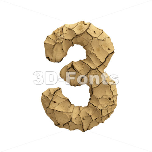 Soil clay digit 3 -  3d number - 3D Fonts Collections | Top Quality Letters, Numbers and Symbols !
