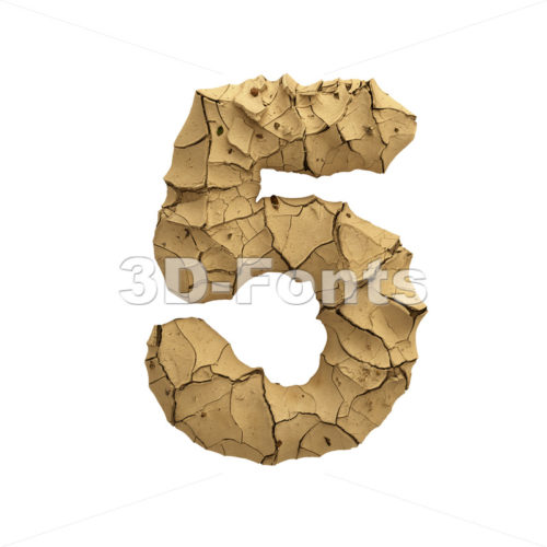 Soil clay digit 5 -  3d number - 3D Fonts Collections | Top Quality Letters, Numbers and Symbols !