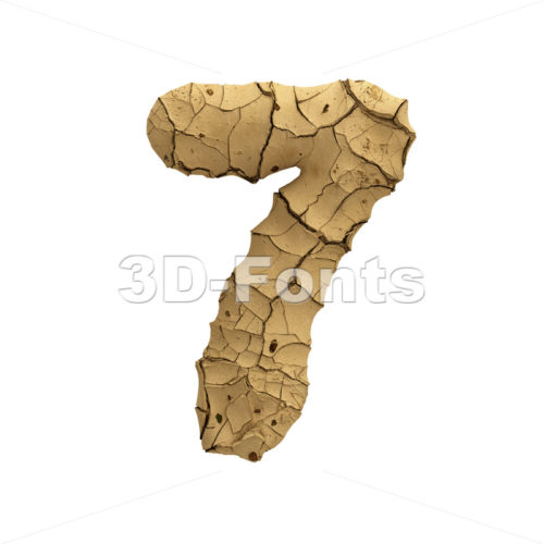 Soil clay digit 7 -  3d number - 3D Fonts Collections   Top Quality Letters, Numbers and Symbols !