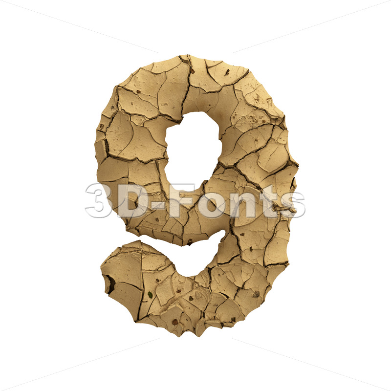 Soil clay digit 9 -  3d number - 3D Fonts Collections | Top Quality Letters, Numbers and Symbols !