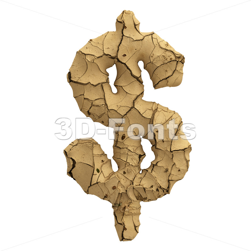 Soil clay dollar currency sign - 3d Money symbol - 3D Fonts Collections | Top Quality Letters, Numbers and Symbols !