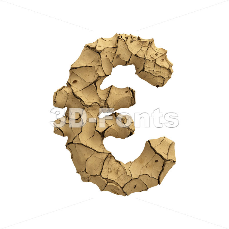 Soil clay euro currency sign - 3d Business symbol - 3D Fonts Collections | Top Quality Letters, Numbers and Symbols !