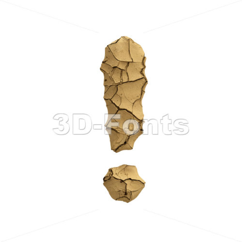 Soil clay exclamation point - 3d  symbol - 3D Fonts Collections | Top Quality Letters, Numbers and Symbols !
