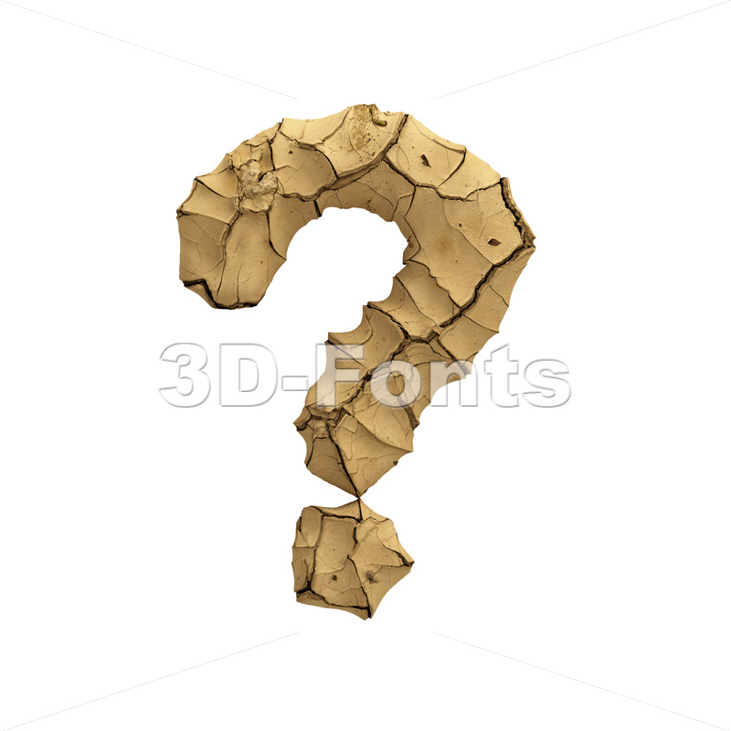 Soil clay interrogation point - 3d  sign - 3D Fonts Collections | Top Quality Letters, Numbers and Symbols !