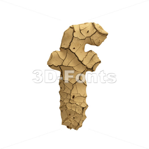 Soil clay letter F - Small 3d font - 3D Fonts Collections | Top Quality Letters, Numbers and Symbols !