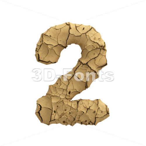Soil clay number 2 -  3d digit - 3D Fonts Collections | Top Quality Letters, Numbers and Symbols !