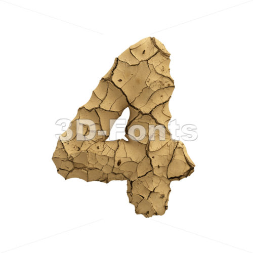 Soil clay number 4 -  3d digit - 3D Fonts Collections | Top Quality Letters, Numbers and Symbols !