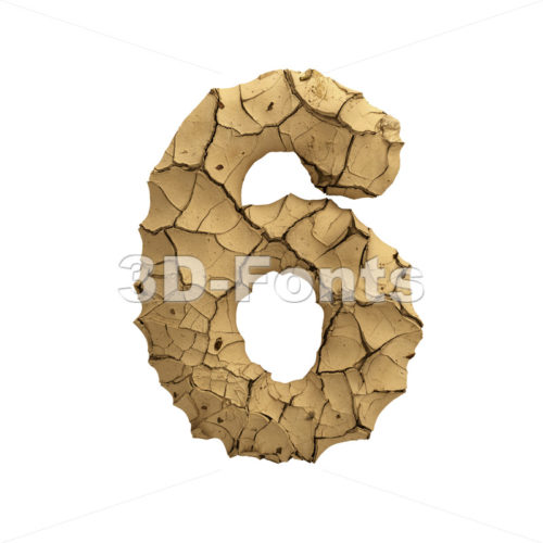 Soil clay number 6 -  3d digit - 3D Fonts Collections | Top Quality Letters, Numbers and Symbols !