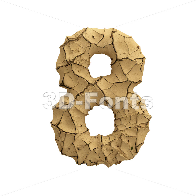 Soil clay number 8 -  3d digit - 3D Fonts Collections | Top Quality Letters, Numbers and Symbols !