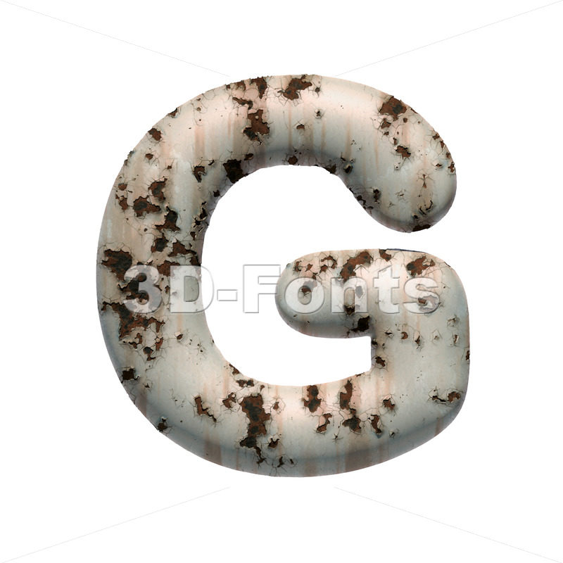Uppercase chipped paint character G - Capital 3d font - 3D Fonts Collections | Top Quality Letters, Numbers and Symbols !