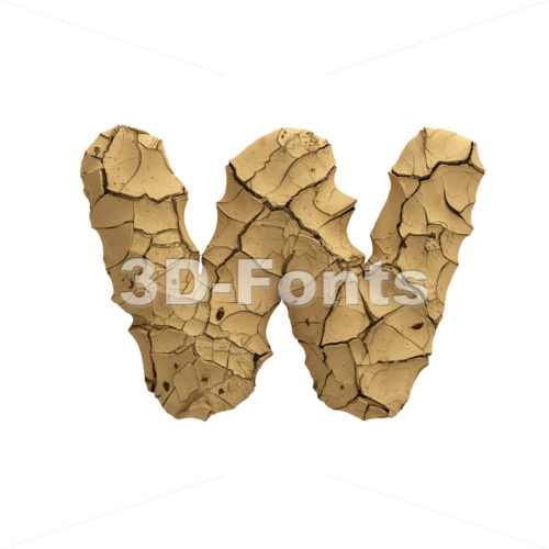 cracked ground alphabet letter W - Lower-case 3d character - 3D Fonts Collections | Top Quality Letters, Numbers and Symbols !