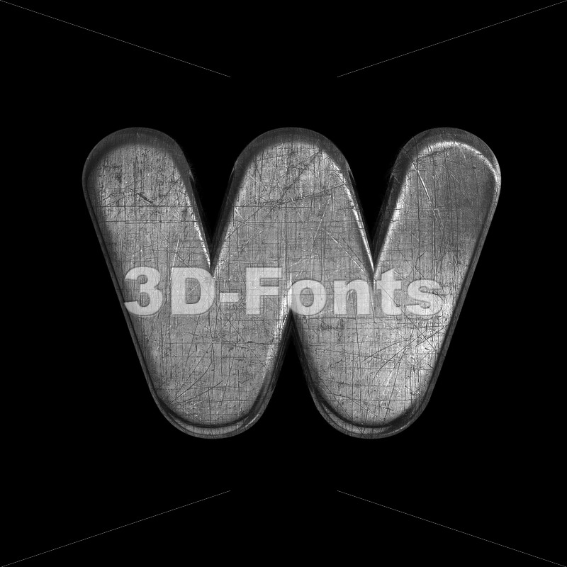 brushed iron alphabet letter W - Lower-case 3d character - 3D Fonts Collections | Top Quality Letters, Numbers and Symbols !