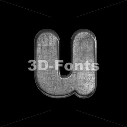brushed metal alphabet character U – Small 3d letter – 3D Fonts Collections | Top Quality Letters, Numbers and Symbols !