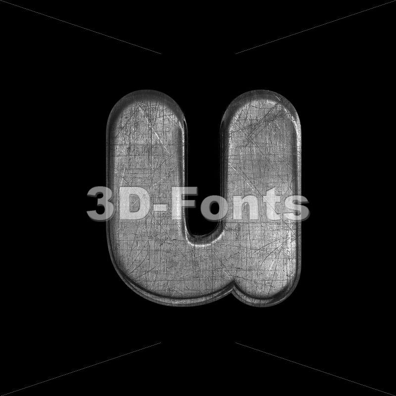 brushed metal alphabet character U - Small 3d letter - 3D Fonts Collections | Top Quality Letters, Numbers and Symbols !