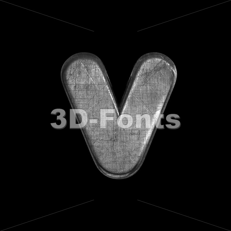 Lowercase metal font V – Small 3d letter - 3D Fonts Collections | Top Quality Letters, Numbers and Symbols !