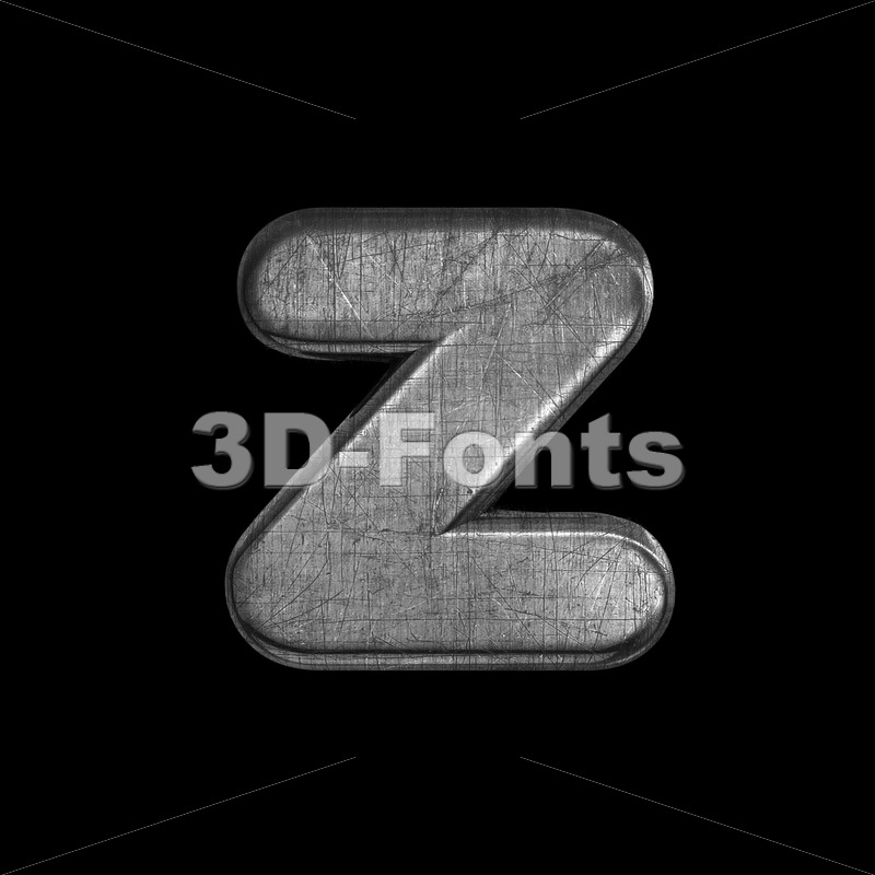 brushed metal 3d character Z - Lower-case 3d font - 3D Fonts Collections | Top Quality Letters, Numbers and Symbols !