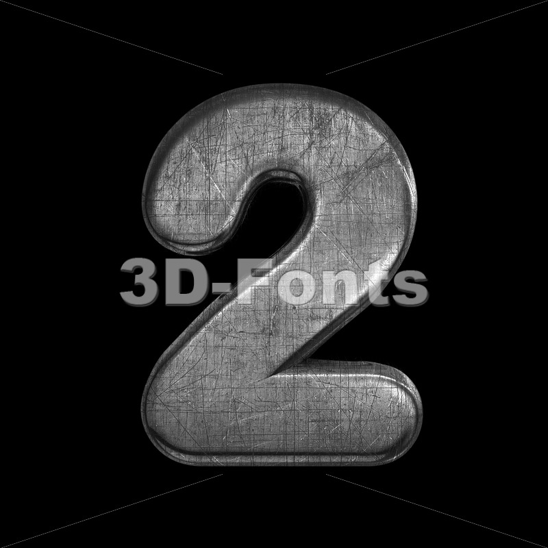 metal number 2 -  3d digit - 3D Fonts Collections | Top Quality Letters, Numbers and Symbols !