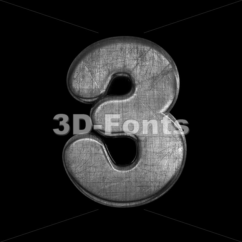 metal digit 3 -  3d number - 3D Fonts Collections | Top Quality Letters, Numbers and Symbols !