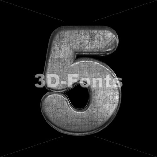 metal digit 5 –  3d number – 3D Fonts Collections   Top Quality Letters, Numbers and Symbols !