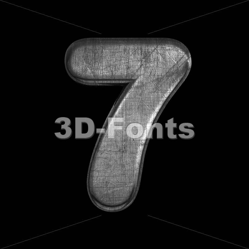 metal digit 7 -  3d number - 3D Fonts Collections | Top Quality Letters, Numbers and Symbols !