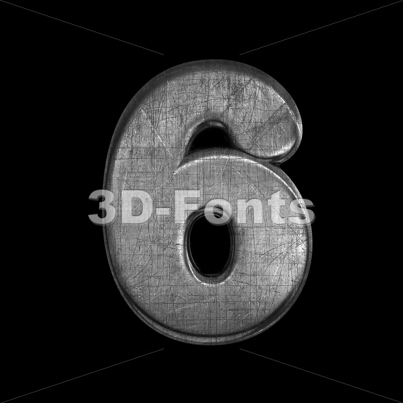metal number 6 –  3d digit – 3D Fonts Collections | Top Quality Letters, Numbers and Symbols !
