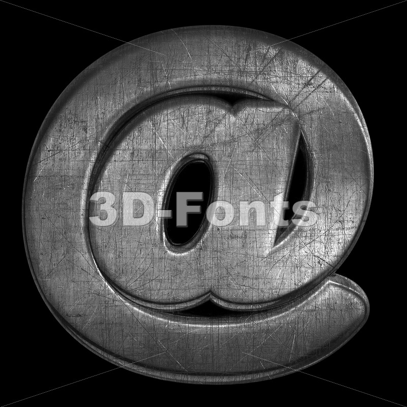 metal at sign - 3d Arobase symbol - 3D Fonts Collections | Top Quality Letters, Numbers and Symbols !