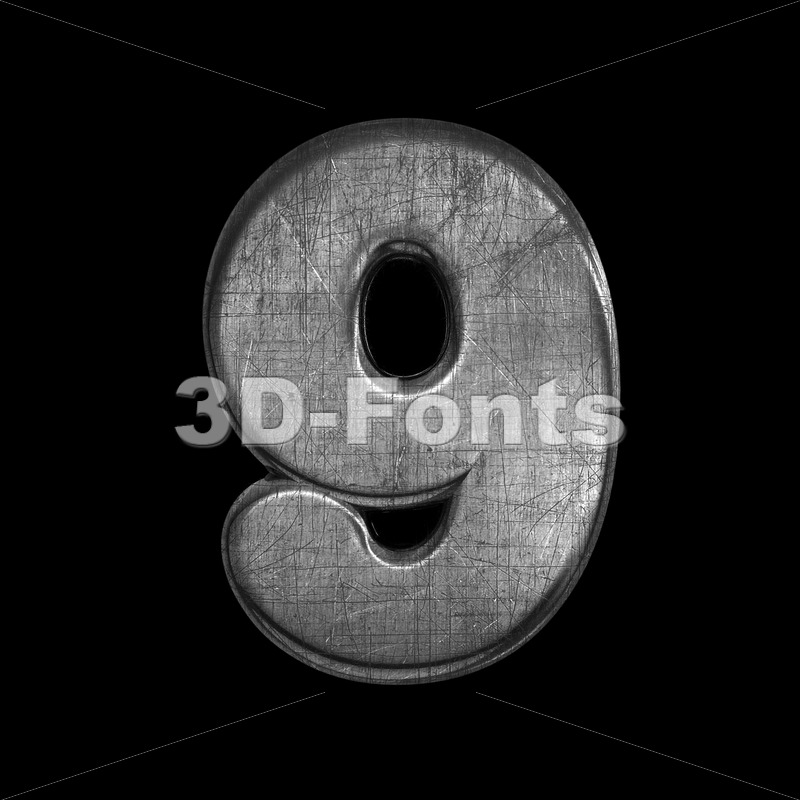 metal digit 9 -  3d number - 3D Fonts Collections   Top Quality Letters, Numbers and Symbols !