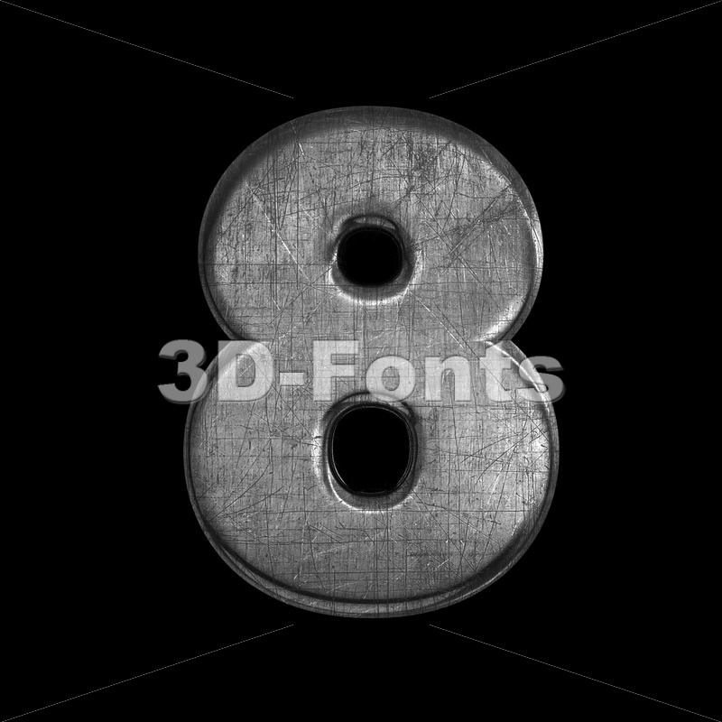 metal number 8 –  3d digit – 3D Fonts Collections | Top Quality Letters, Numbers and Symbols !