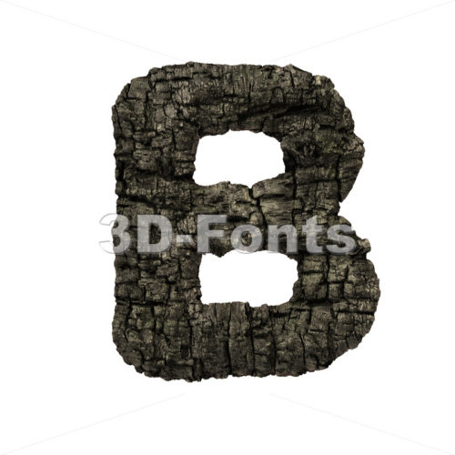 Capital wood coal letter B – Uppercase 3d font – 3D Fonts Collections | Top Quality Letters, Numbers and Symbols !