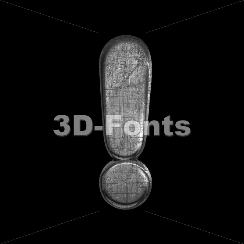 metal exclamation point – 3d  symbol – 3D Fonts Collections | Top Quality Letters, Numbers and Symbols !