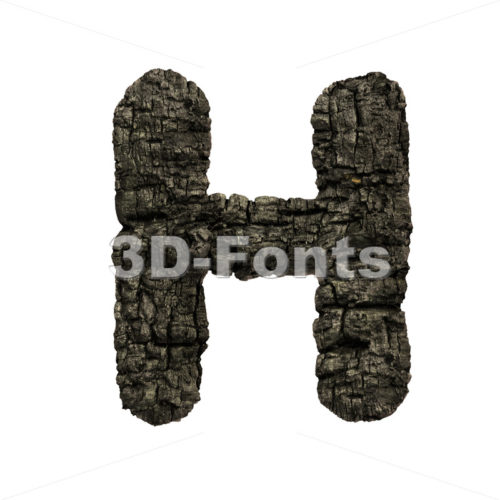 burnt wood 3d letter H – Upper-case 3d character – 3D Fonts Collections | Top Quality Letters, Numbers and Symbols !