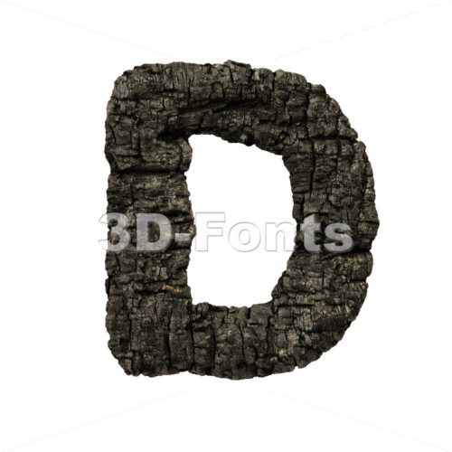 charred wood font D - Capital 3d character - 3D Fonts Collections | Top Quality Letters, Numbers and Symbols !